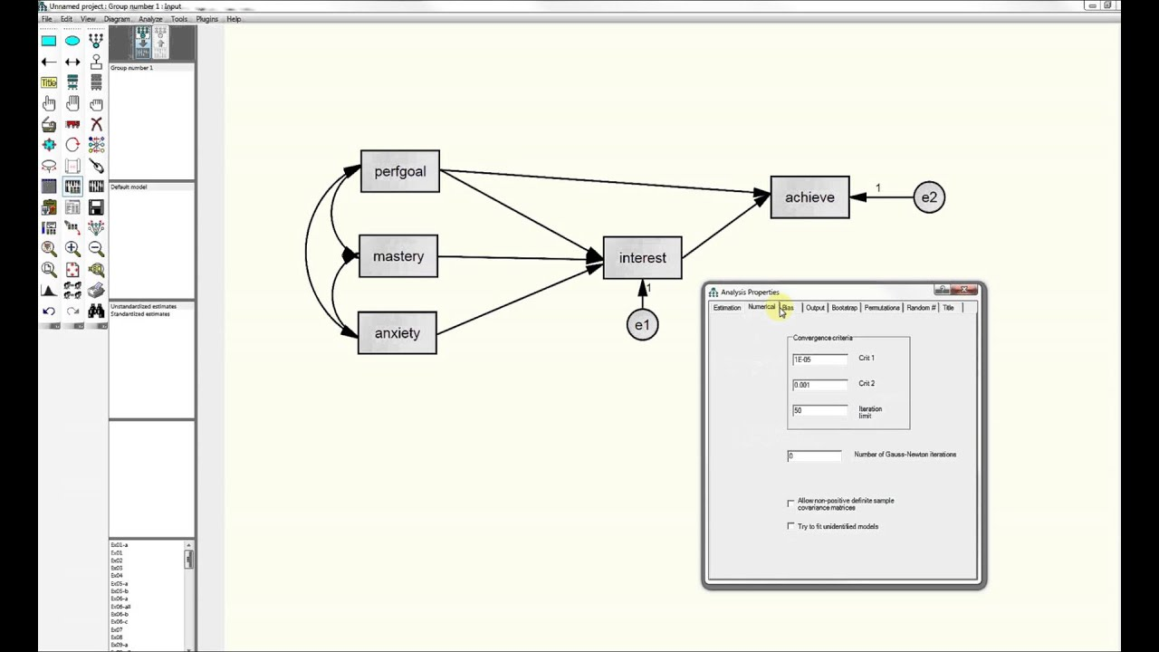 path analysis with AMOS (structural equation modeling