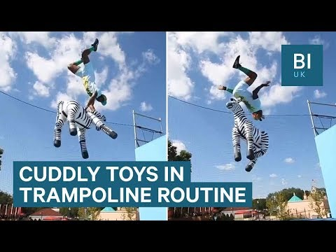 Acrobat uses cuddly toys in amazing trampoline routines