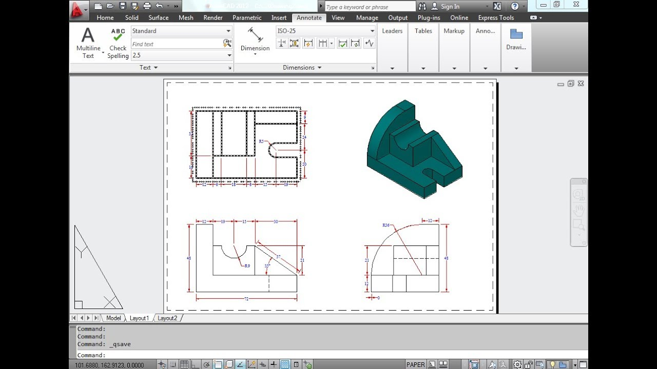 How to Create Orthographic Projection in Auto CAD EXERCISE # 40