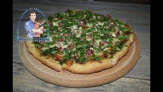 Пицца с моцареллой, помидорами и колбасой. Быстрая и вкусная домашняя пицца