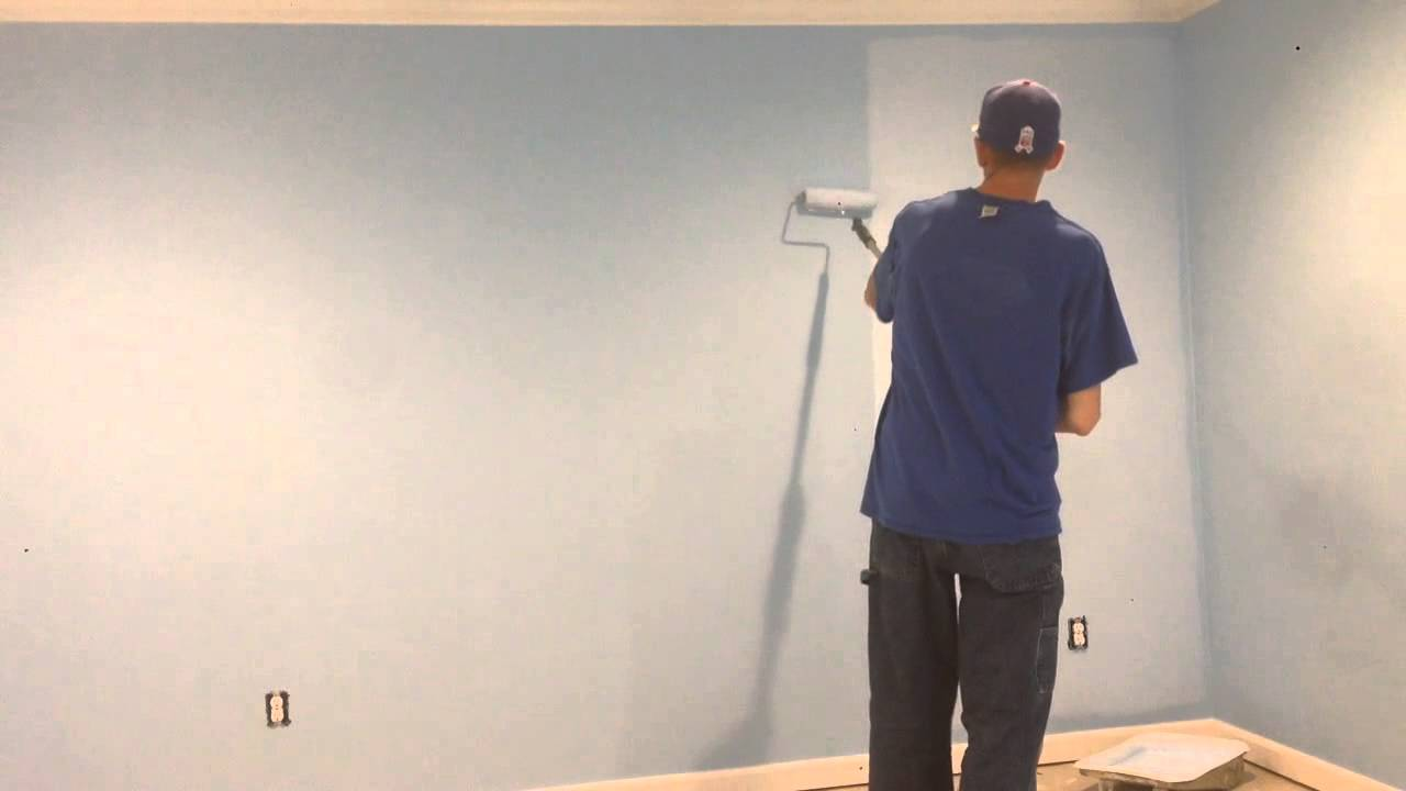 how to paint roll a wall with no lines fast and easy youtube. Black Bedroom Furniture Sets. Home Design Ideas