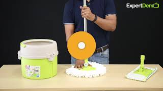 Cello Kleeno Ultra Clean Spin Mop Bucket With Round Refill Heads video Demo