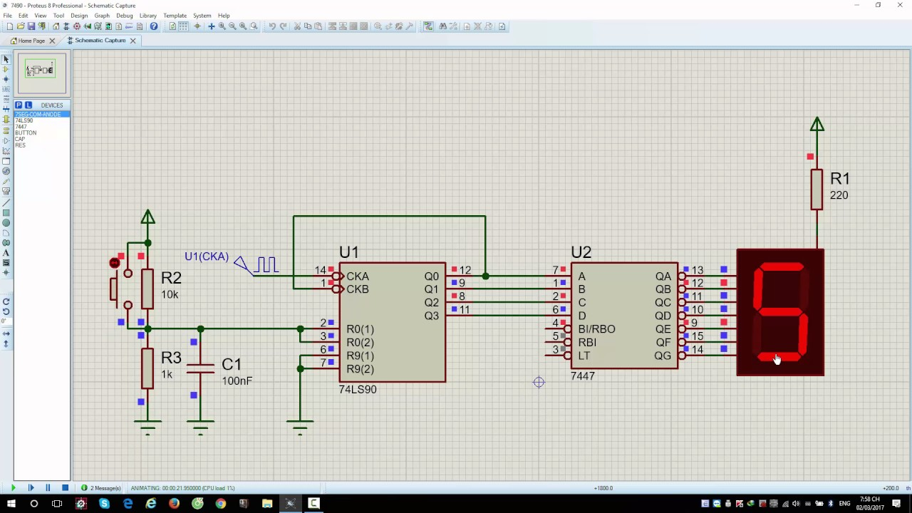 7 Segment Decoder Circuit Free Wiring Diagram For You Logic Of Ic 7447 7490 Counter And Bcd To Led Youtube Components