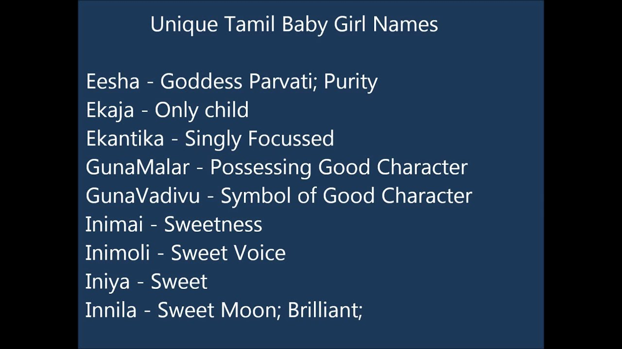 Unique Tamil Baby Girl Names
