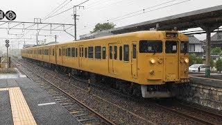 JR西日本 大雨の中の黄色い電車!   115系電車(岡オカA-10編成)【山陽本線・金光駅構内】