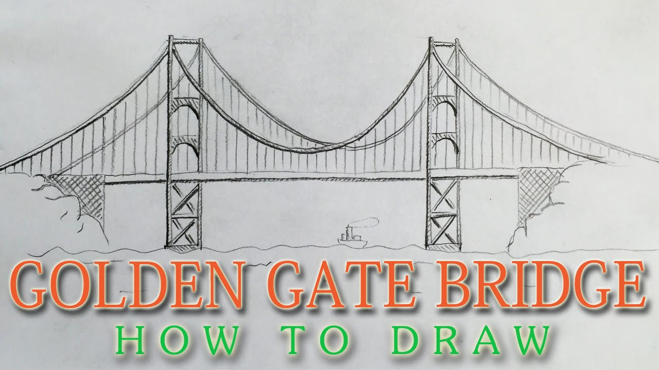 Simple Kids Line Drawing Of The Golden Gate Bridge