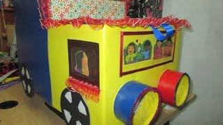 diy-manualidades: juguetero de cajas para niño en forma de camioncito