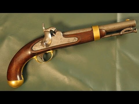 Showing and firing an antique percussion pistol (Aston 1842)