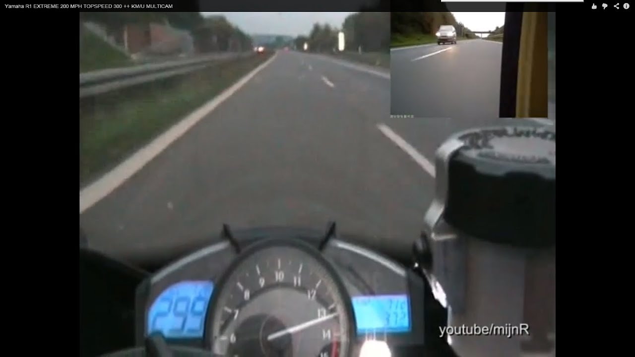 Yamaha R1 Top speed 200 MPH EXTREME 300 ++ KM/U MULTICAM - YouTube