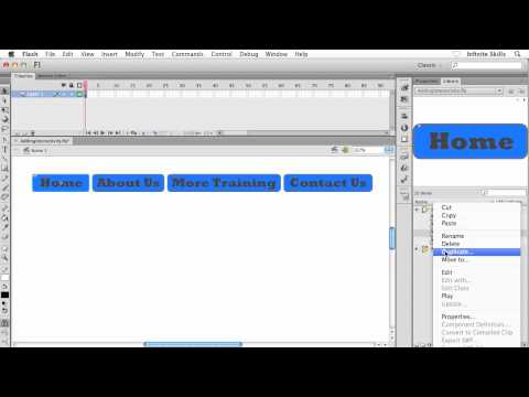 Adobe Flash CS6 Tutorial | Applying An Action To A Button