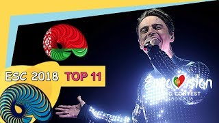 Eurovision 2018 - My Top 11 So Far [New: BELARUS]