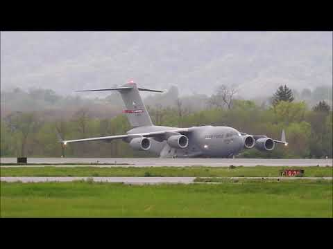 C-17 Landing and Taxi at Eastern WV Regional Airport (MRB)