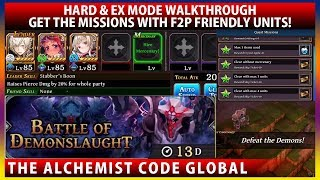 Battle of Demonslaught Hard & EX Mode Walkthrough - Get The Missions With F2P Units! (TAC)