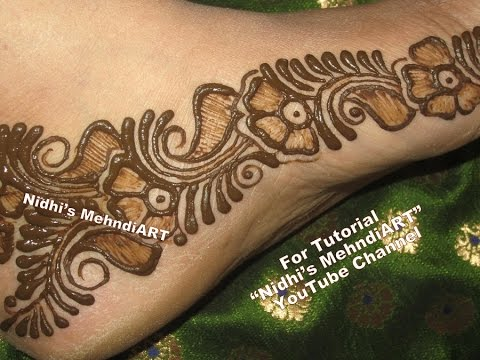 Mehndi Designs Feet N : Easy arabic mehndi designs for feet henna tattoo tutorial