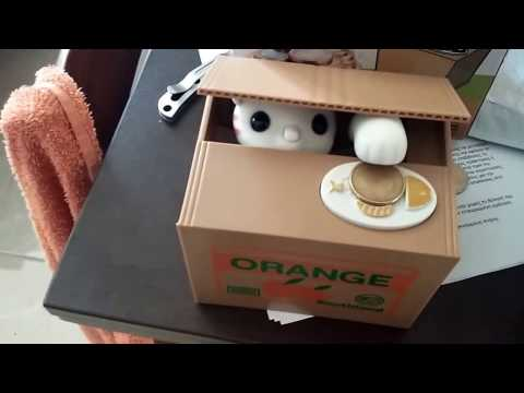 Cute Cat Automated Steal Stealing Money Saving Box Bank