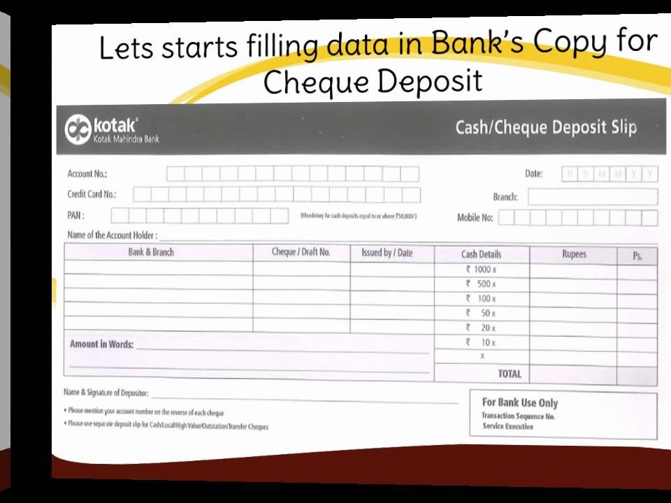 In How To Fill Kotak Mahindra Bank Deposit Slip Youtube