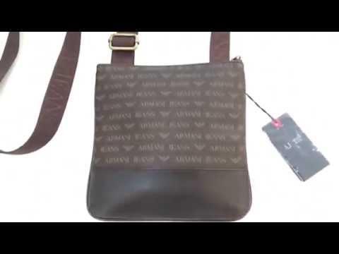 Armani Jeans Mens Brown AJ Monogram Logo Messenger Bag - YouTube be5ab7a467166