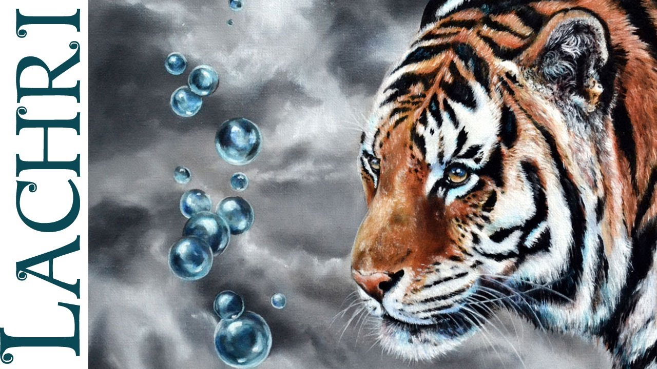 speed painting how to oil paint a tiger photorealistic