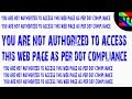 YOU'RE NOT AUTHORIZED TO ACCESS THIS WEBPAGE AS PER DOT COMPLAINCE