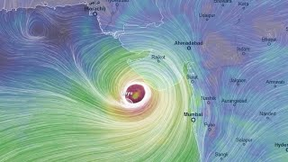 Cyclone Vayu is now entering India Live Position (130km/h - 160mk/h)