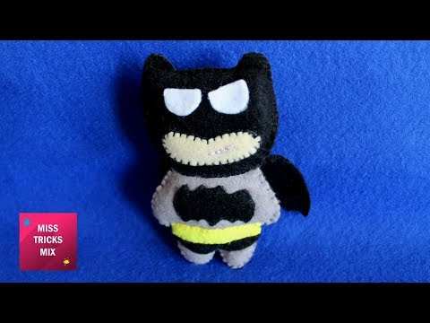 Felt Batman Plushie - DIY : How to make felt batman plushie / Felt Crafts - Kids Crafts.