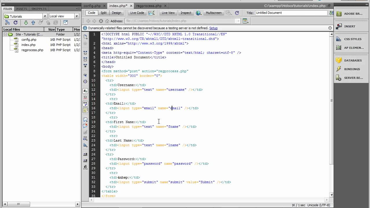A Php Registration form - YouTube