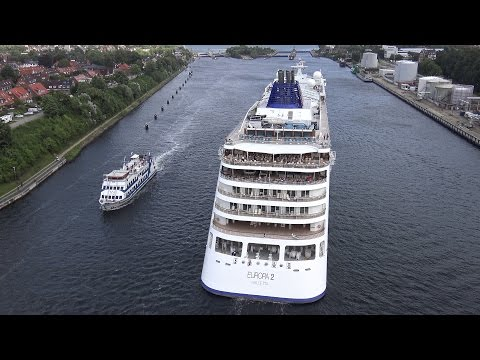 MS EUROPA 2 | Passage Nord-Ostsee-Kanal / Kiel Canal | Aerial views + Ship horn