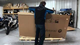 1st 2019 BMW R1250GS in Cosmic Blue Metallic Uncrating by Nate @ Frontline Eurosports
