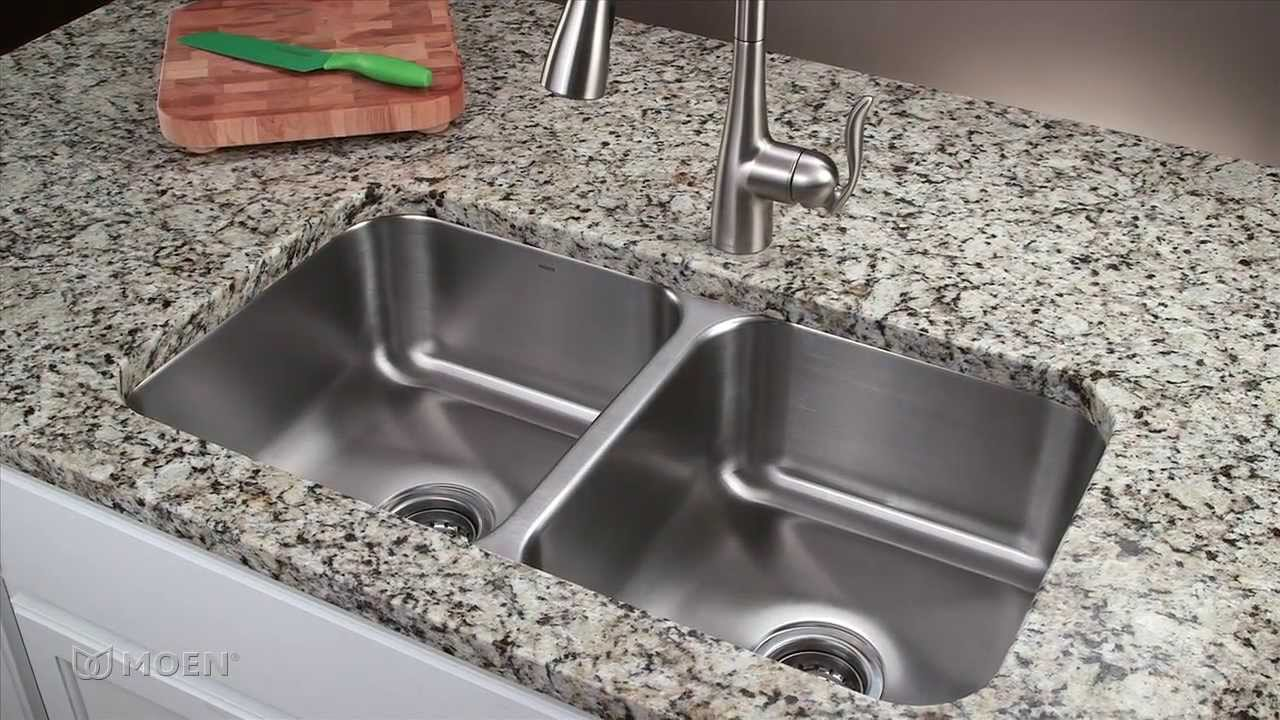 Undermount Sink Mounting : ... Stainless Steel Undermount Kitchen Sink Moen Installation - YouTube