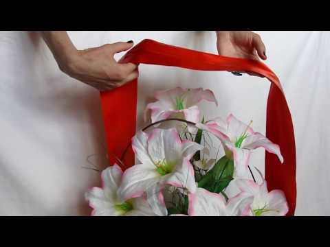 Как закрепить траурную ленту на корзине (часть 1)