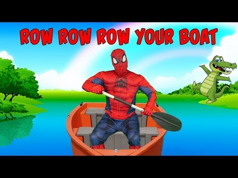 Row Row Row Your Boat Song for Kids Remix Sing Along Song for Children with Spiderman