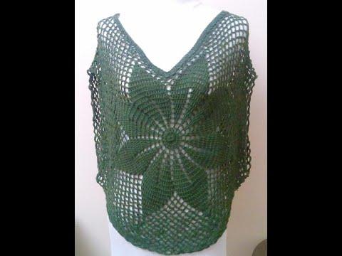 8b4f6a1edfa6b كروشيه طريقه عمل بنشو او بلوزه صيفى باى مقاس Crochet Art - YouTube