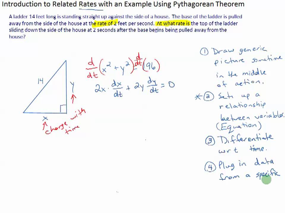 Introduction to Related Rates with an Example Using Pythagorean – Related Rates Worksheet