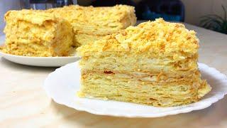 НЕЖНЕЙЩИЙ торт Наполеон Тонкие хрупкие коржи и очень вкусный крем Пломбир
