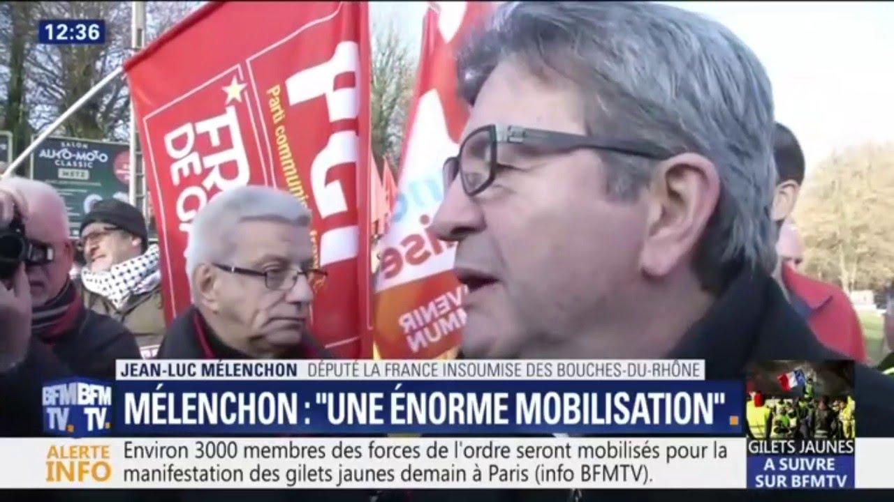 """Gilets jaunes: Mélenchon s'attend à """"une énorme mobilisation"""" demain"""