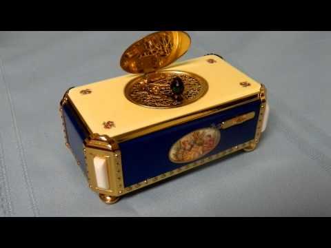 Reuge Enameled Singing Bird animated automata musical box