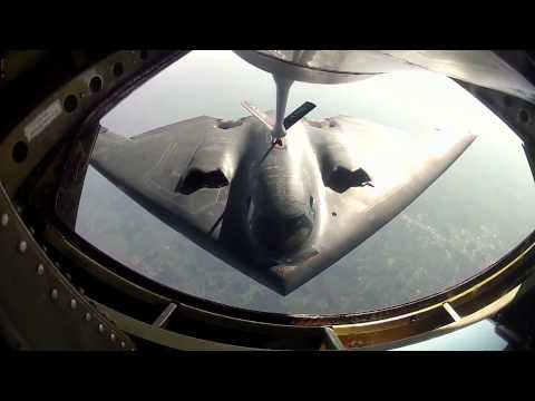 B-2 Spirit Refueling HD Go Pro at Sunset with Cockpit Audio