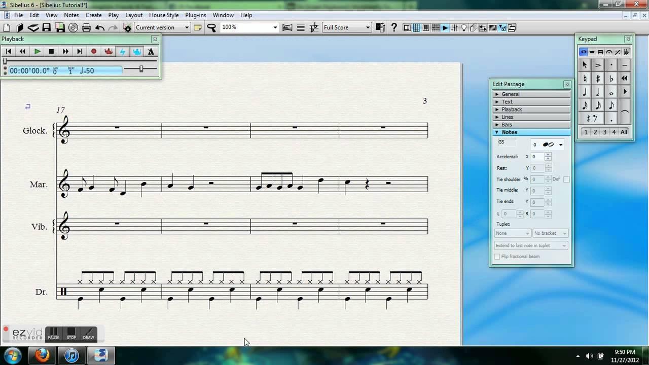 basic sibelius 6 percussion notation youtube. Black Bedroom Furniture Sets. Home Design Ideas
