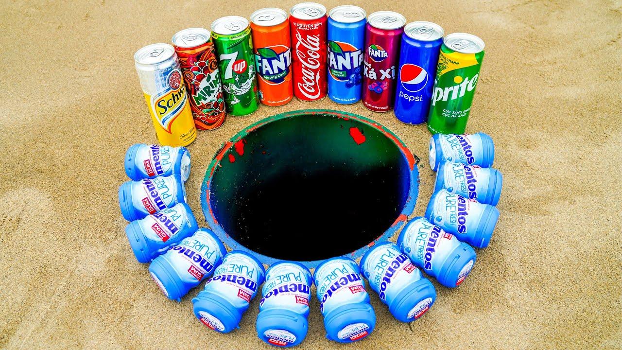 Huge Variety Mentos and Coca Cola, Fanta, Sprite, 7up, Mirinda, Pepsi in Hole Underground!