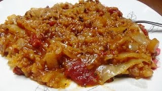 Recipe for Pressure Cooker Cabbage Casserole Using Potatoes, Rice, Ground Chuck