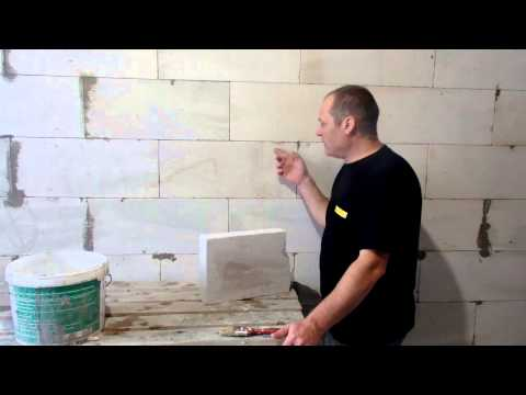 Как поштукатурить стены из газосиликатных блоков видео