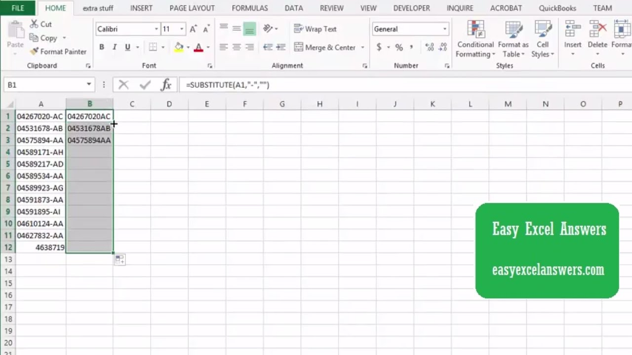 How to remove Characters from fields in Excel