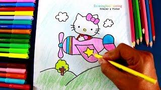 Cómo dibujar a Hello Kitty aviadora (dibujo para niñas) | How to draw Hello Kitty aviatrix