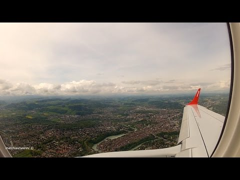 FULL Flight ZURICH to BERN -  Helvetic Airways Embraer ERJ-190 *Wing View HD*