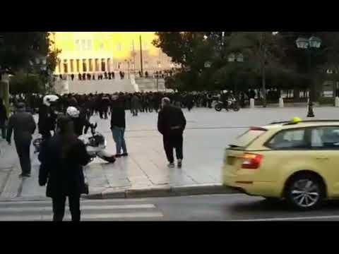 Greece: Biker cops damaging public property