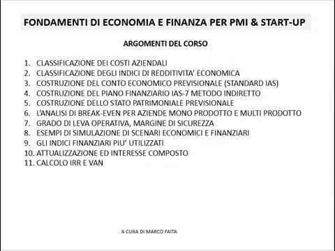 FONDAMENTI DI ECONOMIA E FINANZA PER PMI E START-UP