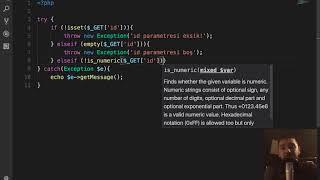 PHP& 39 de İstisnalar try catch finally Exception sınıfı