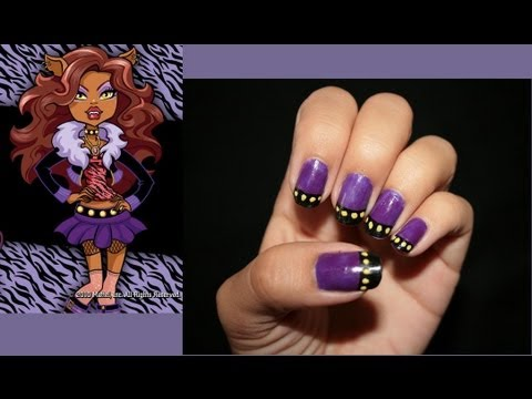 Clawdeen Wolf Monster High Inspired Nail Design Youtube