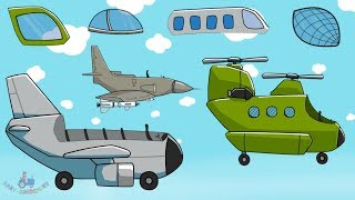 Aeroplanes & Air Vehicles | Helicopter & Jet Fighter | Airliner - what a head? Kids video - samoloty