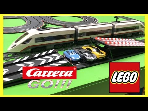 Carrera Go Slot Cars Jumps and LEGO Train Crossing and Crashes